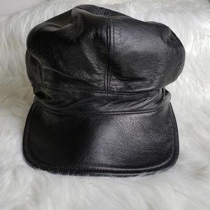 MACASA Newsboy 6 Panel Lamb Leather Hat Unisex